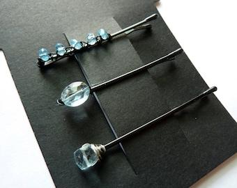 Blue Topaz Gemstone Trio Bobby Pin Pack - Something Blue
