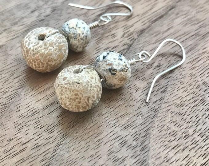 Fossil  Bone Wire Wrapped Earrings