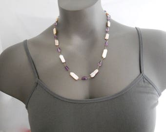 Amethyst Necklace, Coin Pearl Necklace, Fresh Water Pearl Necklace, Purple and White Necklace Unique Necklace Faceted Gemstone, Gift for Her