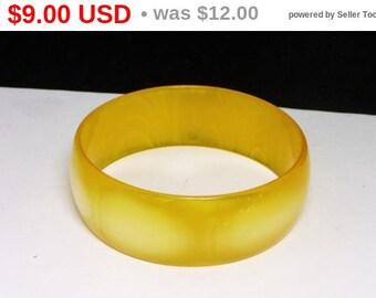 Lemon Yellow Wide Bangle Bracelet - Mid Century Mod Spring Lucite Jewelry