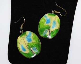 Ceramic Enamel Earrings for Pierced Ears - Oval MOD Shades of Green & Blue Cloisonne Style - Fish Hook Pierced Earrings, Vintage 1970s 1980s