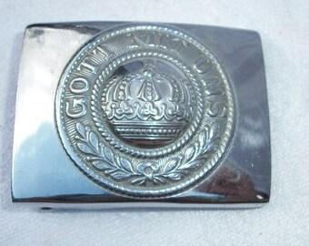 Vintage Belt Buckle Gott Mit Uns Military Crown Army