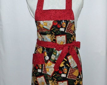 Italian Apron, Womans Petite Size Full, Taste of Italy, Cooking, Wine, Pasta, Custom Gift, Personalize With Name, No Shipping Fee, AGFT 1096