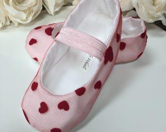 Valentine Baby Girl Shoes - Ballet Flats - Toddler Girl Shoes - Flower Girl Shoes - Princess Shoes