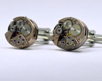 Stunning rose gold oval watch movement cufflinks ideal gift for a wedding, birthday or anniversary 59