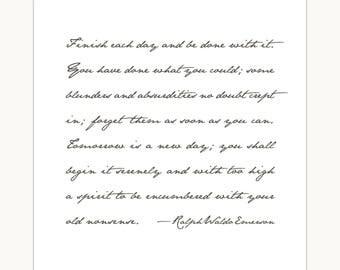 Emerson quote, farmhouse art print, words of wisdom, Ralph Waldo Emerson, handwritten font