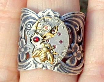 Steampunk Ring, Ruby Jeweled Watch Movement,Adjustable, Flower Design, Wide Band, Brass Honey Bee, Swarovski Crystal, Edwardian Fantasy,OOAK