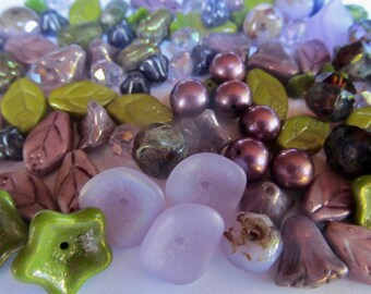 106 Czech Glass Leaf and Flower Mix in Shades Olive Green and Purples 11 Different Beads