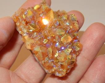 Rainbow Aura Citrine Cluster