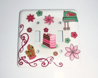 Retro Kitchen Double Light Switch Cover, House Warming Gift, Mixer, Cake, Multicolored Flowers, Oven Mitt