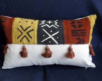 """Handmade Artisan 20"""" x 12"""" African mudcloth bogolanfini accent pillow with fringe"""