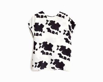 Vintage 80 Cow Spot Blouse / Black & White Top / Cow Print Halloween Costume - women's small