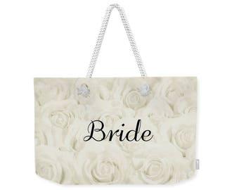 """Light Ivory """"Bride"""" Large Weekender Tote Bag, floral print, gift for bride bridal gift, bridal shower gift, destination wedding- 1610IVBRIDE"""