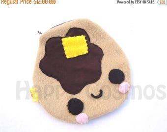 ON SALE - Pancake Zipper Pouch - Pencil Pouch, Pencil Case, School Supplies, Make Up Bag, 3DS Case, Phone Case, Coin Purse