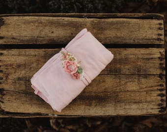 Pink Garden wrap and headband set
