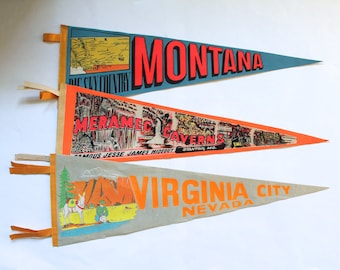 Vintage 1950's-60's-70's Lot of 3 Souvenir Wall Pennants! Virginia City, Meramec Caverns and Montana!