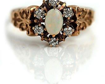 Antique Opal Ring .80ctw Victorian 14K Rose Gold Engagement Ring Mine Cut Diamond Ring Opal Diamond Ring 1880s Alternative Gemstone Ring!