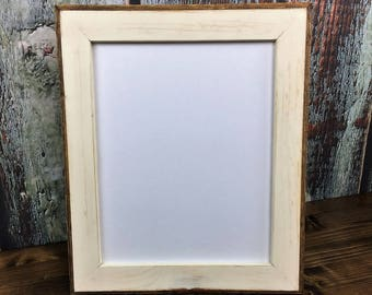 11 x 14 Picture Frame, Cream Rustic Weathered With Routed Edges, Home Decor, Rustic Home Decor, Wooden Frame, Rustic Frame, Rustic Wood