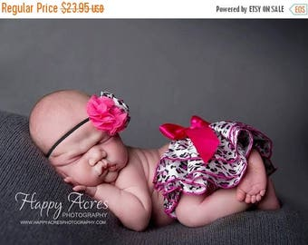 ON SALE Pink Cheetah Ruffled Bloomers, Satin bloomers, Diaper cover, newborn photo prop