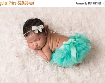 ON SALE Mint Tutu Bloomer and Headband Set, Baby Bloomers, Chiffon Ruffle Bloomers, Diaper Cover, Bloomers and Tieback Set FREE Shipping