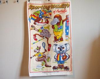 Linen Tea Towel Wall Hanging Fiji Aboriginal Art  Chief Souvenir Travel