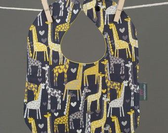 Bib in Giraffe Fabric, Baby Snap Bib, Giraffe Baby Bib, Toddler Bib, Cotton Baby Bib, Shower Gift Under 20, Grey Yellow Bib