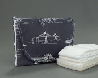 Diaper & Wipe Clutch in Charcoal Bridgetown Fabric, Mini Diaper Bag, Diaper Clutch, Nappy Case, Travel Small Diaper Bag, Mini Nappy Bag