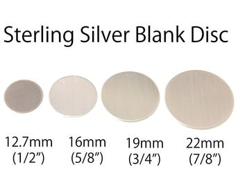2pc, Sterling Silver Blank Disc, stamping disc, sterling blank, 20 gauge, 20g, silver stamping disc, silver disc, 13mm, 16mm, 19mm, 22mm