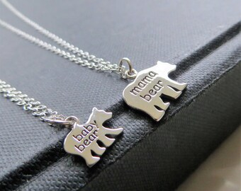 first day of school, Mama bear baby bear necklace, sterling silver mother child set, back to school shopping, preschool