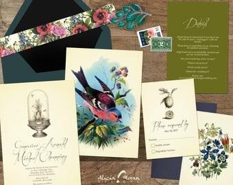 Wedding Invitation Suite: SAMPLE (jewel tones,  terrarium, vintage, birds, flowers, bright)