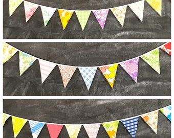 Colorful Bunting Banner - Flags Made From Vintage Sheets - For Baby Showers, Nursery Decor, Birthday Parties, Weddings