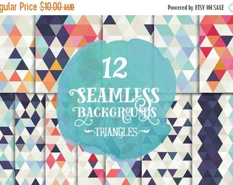 90% OFF Sale Digital paper, - Seamless blue and pink Triangles Paper, Digital Scrapbook, Instant download, 12 Digital Papers