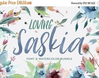 80% OFF Calligraphy Font Bundle, Watercolor Clip Art, Digital Fonts, Wedding Font, Digital Paper, Script Font, Digital Download, Loving Sask