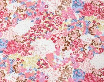 Vintage Pink Blue and Tan Patchwork Floral Brushed Poly Spandex Knit, 1 Yard