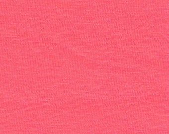 Solid Deep Salmon Pink 4 Way Stretch 9oz Cotton Lycra Jersey Knit Fabric, 1 Yard