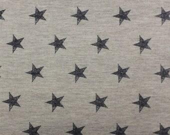 Grey and Navy Blue Star French Terry Knit Sweatshirt Fabric, 1 Yard