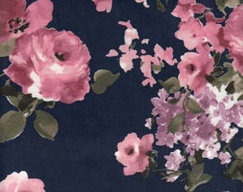 Navy Burgundy and Purple Floral Brushed Poly Spandex Knit, 1 yard