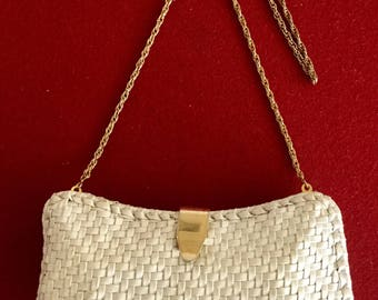 Vintage 60s 70s White Rattan Purse/clutch