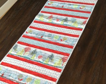 """Handmade Quilted Table Runner - 10"""" x 66"""" - Christmas Table Runner - Table Linen - Homemade Table Runner - Cotton"""