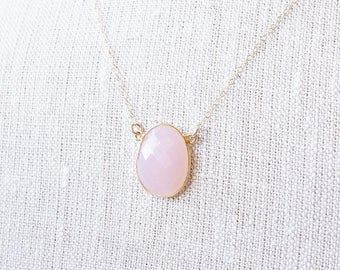 SALE Necklace, Gold Necklace, Chalcedony Necklace, Pink Necklace, Gemstone Necklace, Rose Quartz Necklace, Handmade Necklace, Bridesmaid Nec