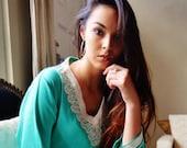 10 OFF Summer SALE  Leila Light Green Bohemian Caftan Kaftan loungewearresortwear for gifts for her beach bridesmaids gift Birthday