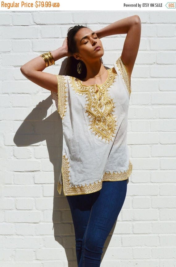 25% OFF Autumn Sale// Christmas gifts- Asmahan Style White with Gold Embroidery Tunic-resortwear, birthday, beach wedding, bridesmaid gifts,