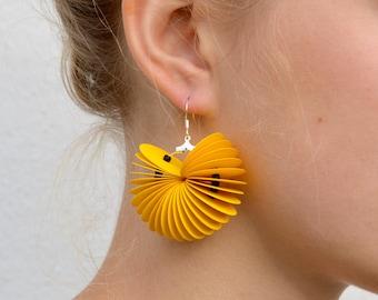 yellow: Dangle Earrings CARTA - made of cardstock