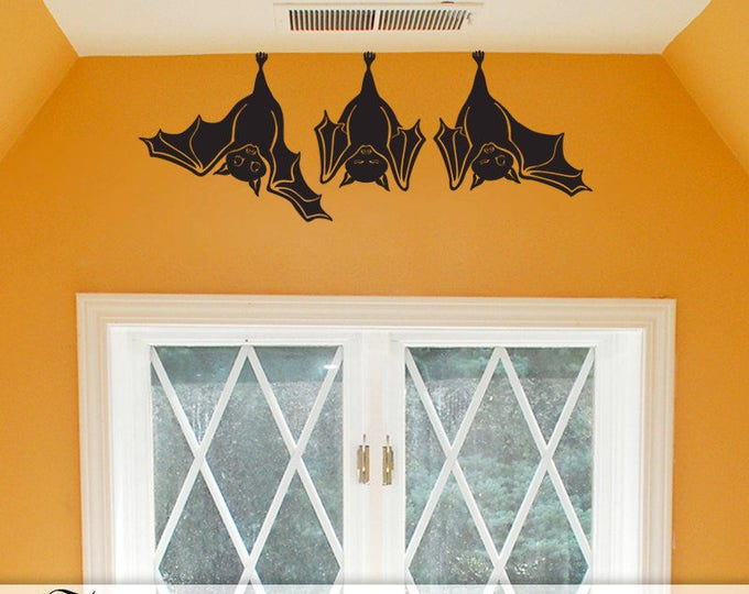 Halloween Gift for the Animal Lover, 3 Cute Bat Wall Decals, Hanging Bats Fall Decor for Indoor or Outdoor Vinyl Decal (0178cN)