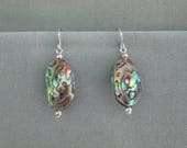 Abalone Shell and Sterling Silver Dangle Earrings