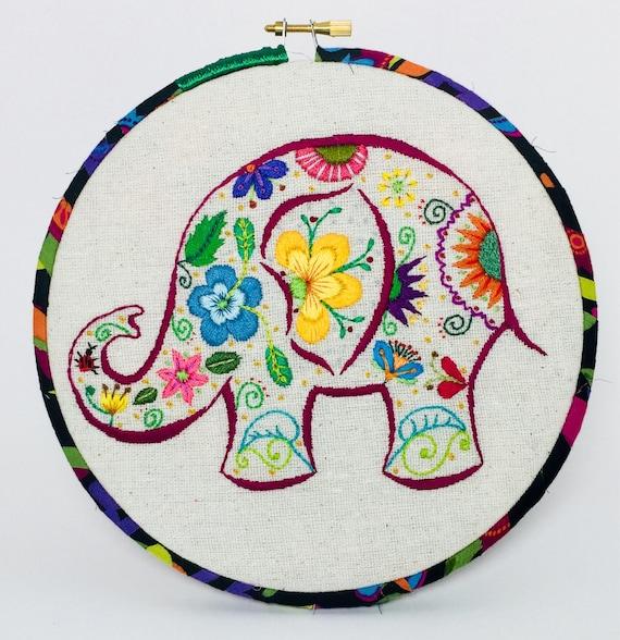 Garden Elephant Hand Embroidered Hoop Art
