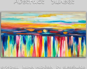 """Sale Abstract painting landscape art Original Modern simplicity texture Oil Painting on stretched canvas by Tim Lam 48"""" x 24"""""""