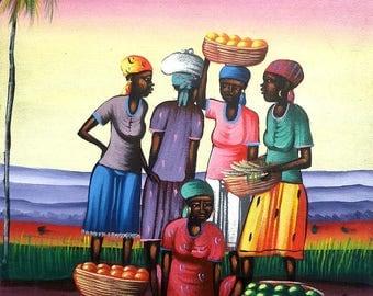 """Art of Haiti, Haitian Art, Haitian Canvas Painting, Canvas Wall Art, Haitian Market Women, Haitian Painting, Original Painting  20"""" x 24"""""""
