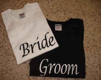 Bride and Groom shirts embroidered or Heat Press wedding honeymoon fun