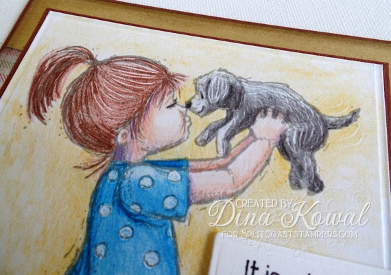 handmade greeting cards - Happy Heart Puppy Girl